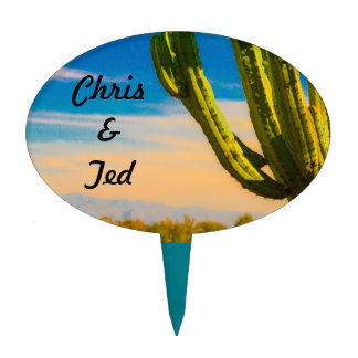 Desert Cactus Colorful Casual Wedding Cake Toppers