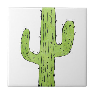 Desert Cactus Design Ceramic Tile
