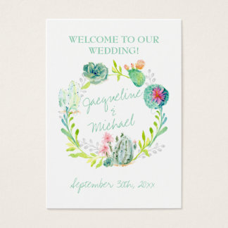 Desert Cactus Succulent Leaf Table Seating Place Business Card