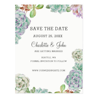 Desert Cactus Succulents save the dates Postcard