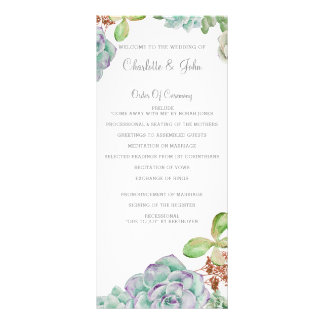 Desert Cactus Succulents Wedding programs Custom Rack Cards