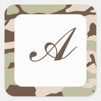 Desert Camo Monogram Square Sticker