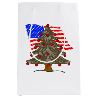 Desert Camouflage Christmas Tree w/American Flag Medium Gift Bag