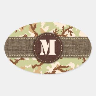 Desert camouflage oval sticker