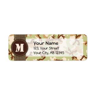Desert camouflage return address label