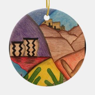 Desert Dance Round Ceramic Decoration