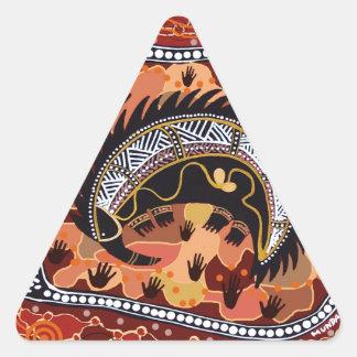 Desert Echidna Dreaming Triangle Sticker