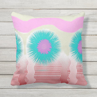 Desert Flower Abstract in Pink and Turquoise Throw Pillow