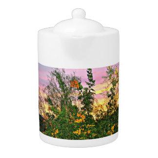 Desert Flowers in Pink Sunset Tea Pot