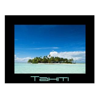 Desert island in the pacific black Tahiti postcard