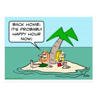 desert isle castaway misses happy hour postcard
