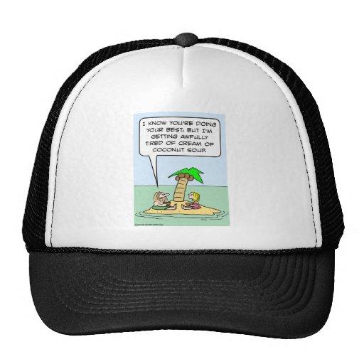 desert isle cream coconut soup trucker hats