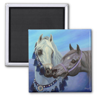 Desert Jewels Arabian horses square magnet