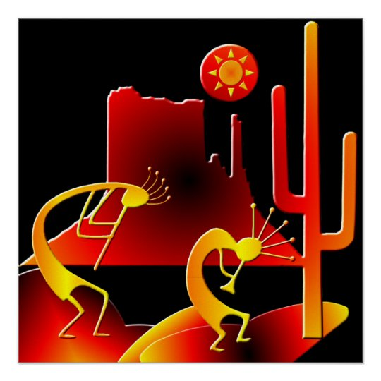Desert Kokopelli Poster