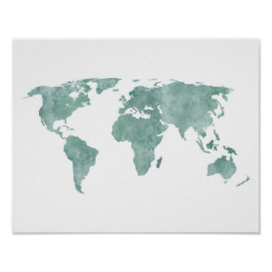 Watercolor world map posters posters photo prints zazzle au desert mint green watercolor world map poster gumiabroncs Image collections