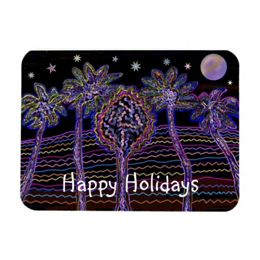 Desert Night Happy Holiday Premium Magnet