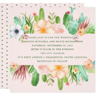 Desert Pink Succulent Wedding Card