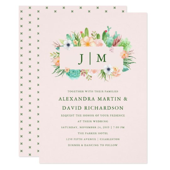 Desert Pink Succulent Wedding Invitation