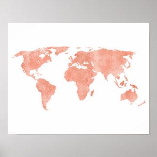 Desert Pink Watercolor World Map Poster