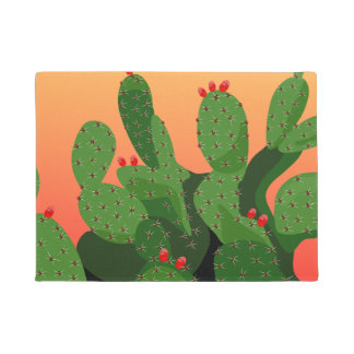 Desert Prickly Pear Sunset Door Mat