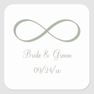 Desert Sage Infinity Symbol Save the Date Square Sticker