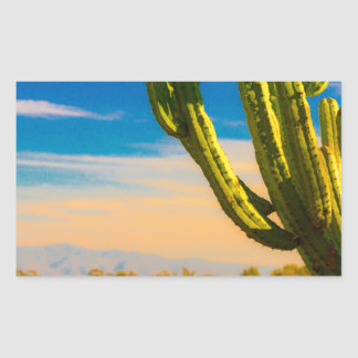 Desert Saguaro Cactus on Blue Sky Rectangular Sticker