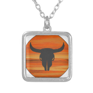 Desert Skull Sunset Silver Plated Necklace