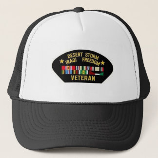 DESERT STORM WAR VETERAN TRUCKER HAT
