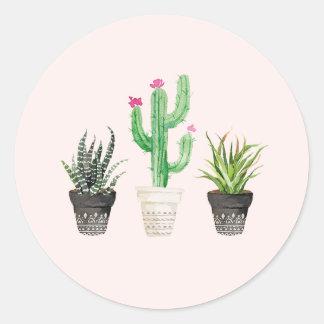 Desert Succulent Cactus Favor Stickers - Pink