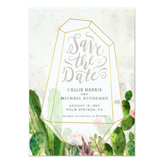Desert Succulent Save the Date - Stone Card