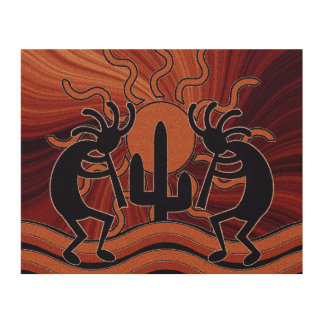 Desert Sun Cactus Kokopelli Rustic Southwest Wood Wall Art