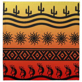 Desert Sun Cactus Southwest Kokopelli Pattern Napkin
