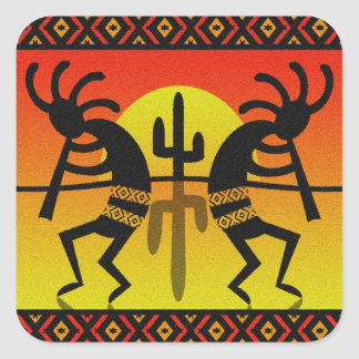 Desert Sun Cactus Southwest Kokopelli Square Sticker