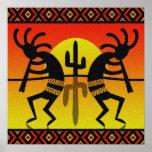 Desert Sun Cactus Southwest Kokopelli Wall Art