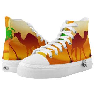 Desert Sunset  Zipz High Top Shoes,White