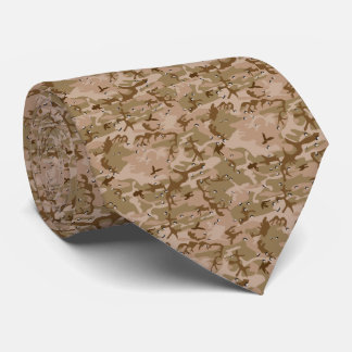 Desert Tan Camo Camouflage Brown Military Pattern Tie