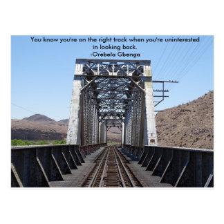 Desert train track postcard