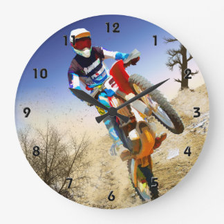 Desert Wheelie Motocross Large Clock