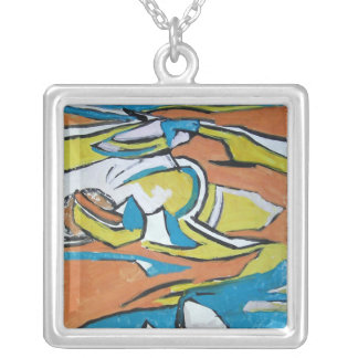 Deserted beach Original Painting Necklace