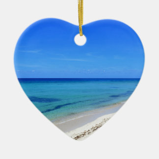 Deserted Cosumel Beach Calm Teal Water White Sand Ceramic Heart Decoration