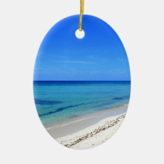 Deserted Cosumel Beach Calm Teal Water White Sand Ceramic Oval Decoration