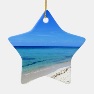 Deserted Cosumel Beach Calm Teal Water White Sand Ceramic Star Decoration