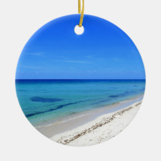 Deserted Cosumel Beach Calm Teal Water White Sand Round Ceramic Decoration