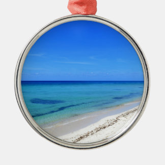 Deserted Cosumel Beach Calm Teal Water White Sand Silver-Colored Round Decoration