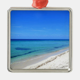 Deserted Cosumel Beach Calm Teal Water White Sand Silver-Colored Square Decoration
