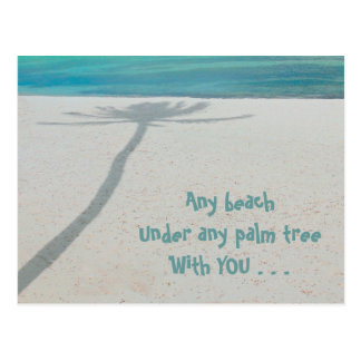 DESERTED WHITE SAND BEACH, SHADOW LONE PALM TREE POSTCARD