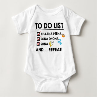 Desi Baby To-Do List! (Eat, Cry, Sleep) Baby Bodysuit