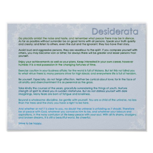 Desiderata and Butterflies Poster