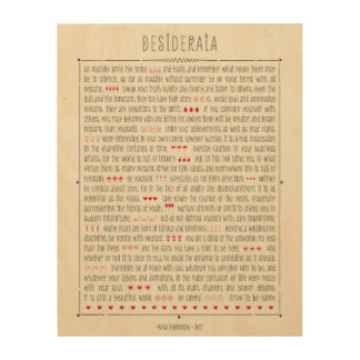 Desiderata by Max Ehrmann Wood Prints
