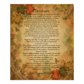 "Desiderata ""desired things"" Autumn leaves Poster"